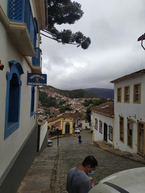 The historical city of Ouro Preto state of Minas GeraisBrazil Once the capital of the state more then  years ago now a lovely small town with amazing old architecture including a church with an inside made almost  of gold