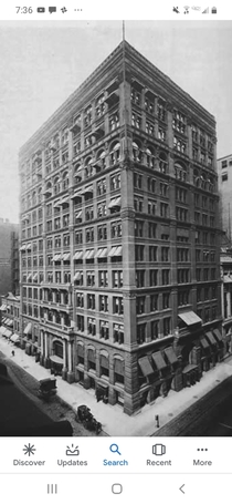 The Home Insurance Building was the first skyscraper ever built It was constructed in Chicago in  by William Lee Baron Jenney It was  floors and  feet which was a staggering height at the time It was so great he even built a second building called the Sec