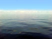 The horizon in the middle of Lake Michigan on a foggy day