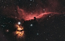The Horsehead and Flame Nebula from my light-polluted backyard