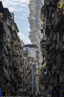 The Hotel Grand Lisboa viewed from the streets of Macau