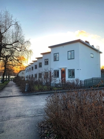 The  houses on lstensgatan in Bromma are a classic example of Swedish functionalism They were designed by architect Paul Hedqvist and built in the s The street has become a symbol for the political term the peoples home which aimed to build a society with