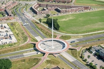 The Hovenring cable-stayed aerial bicycle roundabout in the Netherlands near Eindhoven