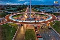 The Hovenring - is the first of its kind in the world suspended cycle path roundabout in the province of North Brabant in the Netherlands The design for the Hovenring was made by the ipv Delft design agency -