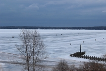 The ice road between Bayfield Wisconsin and Madeline Island earlier this year Open when condition allow