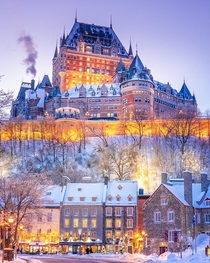 The iconic Chteau Frontenac in the Upper Town of Quebec City overlooking the Lower Town Quebec City Quebec Canada