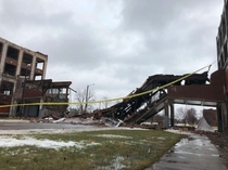The iconic pedestrian bridge at the Packard plant has collapsed