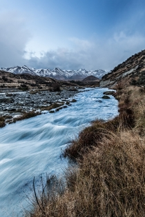 The icy glacial waters of Cave Stream Canterbury New Zealand