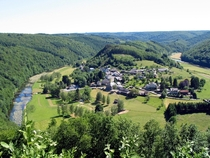 The idyllic village of Frahan in the forested Ardennes Belgium