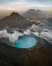The Ijen earth pimples during sunrise in East Java Indonesia