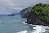 The imposing cliffs of the Kohala coastline as a storm approached Big Island of Hawaii