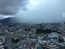 The incoming rain Took this picture in the Waterfront Complex Tower C in POS Trinidad with my phone