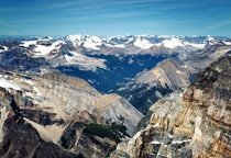 The incredible Canadian Rockies Looking North from the summit of Mt Victoria