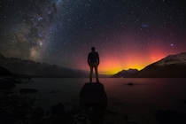 The Incredible New Zealand Night Sky Milky Way and Aurora in a single exposure