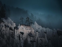 The incredible out of the world Earth pyramids one moody evening somewhere in South Tyrol Dolomites Italy  OC IG arvindj
