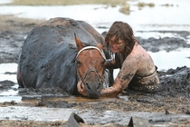 The incredible story of one womans loyalty to her horse  she spent three hours holding its head above the tide after it got stuck in the mud on a beach in Australia