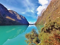 The incredibly blue waters of a lake near Huaraz Peru