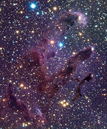 The Infrared images of M also known as Eagle nebula lies  light-years away in the constellation of Serpens Cauda Credit ESO