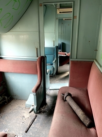 The inside of an abandoned Alaskan Railway car in Nenana Alaska