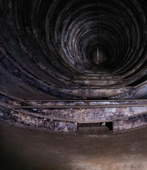 The inside of an oil tank in an abandoned factory bunker in the Czech Republic