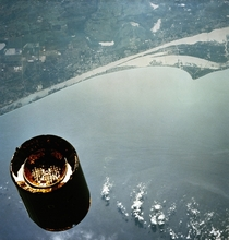 The INTELSAT VI F satellite photographed from the Space Shuttle Endeavor on its maiden flight STS-s mission was to capture and repair this communication satellite Cape Canaveral serves as the backdrop