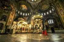 The interior of the Alexander Nevsky Cathedral Nizhny Novgorod Russia