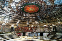 The interior of the Buzludzha Monument on Mount Buzludzha Bulgaria