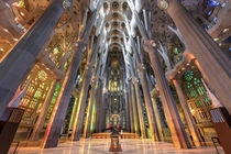 The interior of the Sagrada Familia in Barcelona Spain