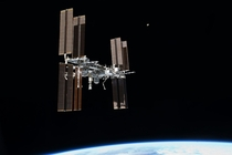The International Space Station as seen from space shuttle Atlantis June