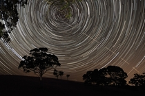 The International Space Station ISS appears to pierce a path across the radiant concentric star trails seemingly spinning over the silhouettes of the trees in Harrogate South Australia by Scott Carnie-Bronca