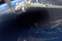 The International Space Station was in position to view the umbral shadow cast by the Moon as it moved between the Sun and the Earth during the solar eclipse on March   This astronaut image captures the shadow across southern Turkey northern Cyprus and th