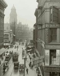 The intersection of Farmers and Monroe streets in Detroit circa  The tower in the distance is the old Wayne County Courthouse and the building on the far left is Crowleys Department Store