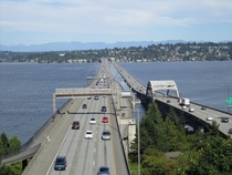 The Interstate  floating bridges connecting Seattle with Mercer Island