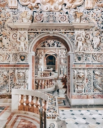 The intricate polychrome marble inlay decoration of the th century Baroque Church of the Ges in Palermo Sicily