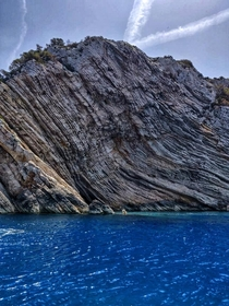 The island Libre in the Adriatic Sea Croatia Named so because the rock face looks like pages from a book due to erosion from the sea and wind   x