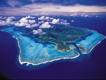 The island of Huahine and its lagoon in French Polynesia