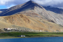 The isolated village of Korzok in northern India located above the treeline at  m next to Tso Moriri lake