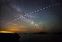 The ISS travelling above Caldey Island in Pembrokeshire