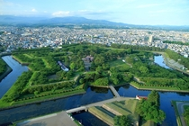 The Japanese city of Hakodate with the Gorykaku star fort in the foreground The fort was based off French Vauban forts