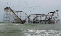 The Jet Star roller-coaster after Hurricane Sandy