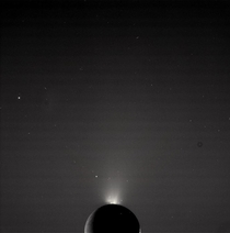 The jets of Enceladus Saturns sixth largest moon Captured by the Cassini spacecraft in
