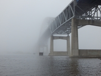 The John A Blatnick Bridge between Superior WI and Duluth MN in heavy fog