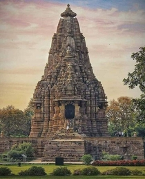 The Kandariya Mahadeva Temple meaning the Great God of the Cave is the largest Hindu temple in the medieval temple group found at Khajuraho in Madhya Pradesh India It is considered one of the best examples of temples preserved from this period in India an