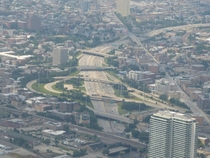The Kennedy Expressway carving a path through Chicago