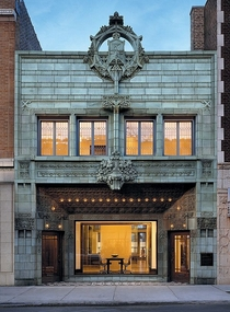 The Krause Music Store a National Historic landmark building is a -vintage structure and the final work of famed architect Louis Sullivan considered one of the greatest architects of the Chicago School of Architecture