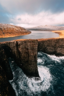 The lake at the edge of the world Srvgsvatn Faroe Islands