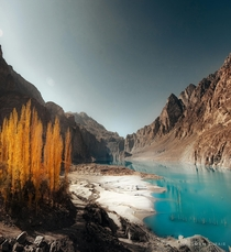 The lake was formed due to a massive landslide at Atta-abad Village in Hunza Valley in Gilgit-Baltistan Pakistan