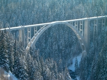 The Langwieser Viaduct a single track railway bridge near Langwies Canton of Graubnden Switzerland