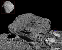 The largest boulder on the asteroid Bennu is so big it can be seen from Earth-based telescopes It is  feet wide x  feet high A human with a car for scale