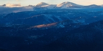 The last bits of light on the foothills of Indian Peaks Colorado